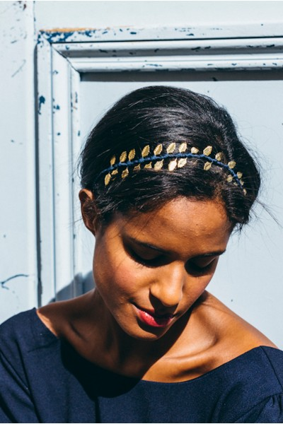 NAVY GOLD LEAF HEADBAND