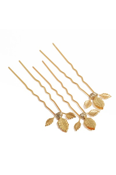 GOLD HAIR PIN X3