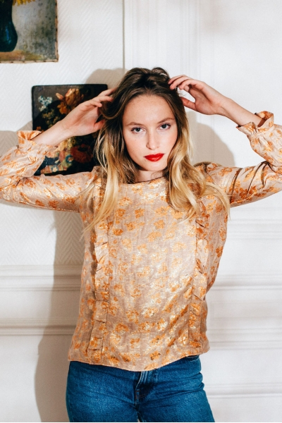 NEREA ORANGE & GOLD BLOUSE