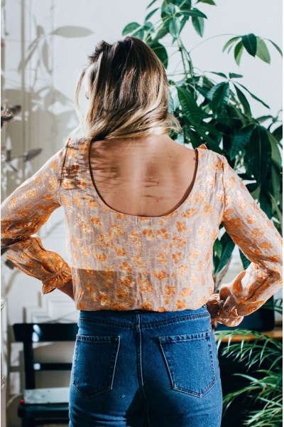 BLOUSE NEREA ORANGE ET OR
