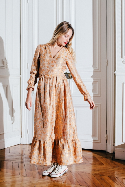 NEREA ORANGE & GOLD DRESS