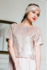 BLOUSE GLITTER ROSE PALE
