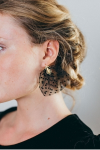 BLACK PLUMETIS EARRINGS