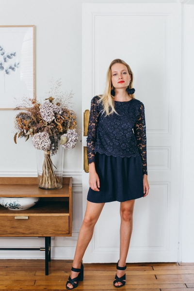 NAVY BLUE AMOUR SKIRT