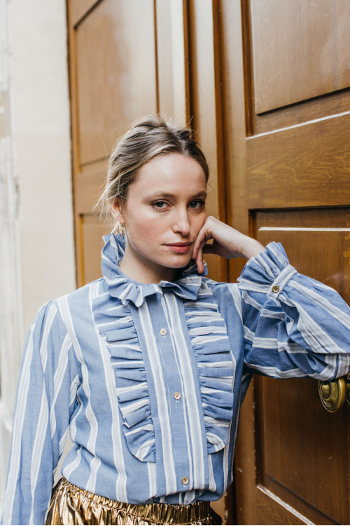 WHITE AND BLUE STRIPED YVES BLOUSE
