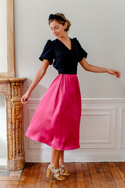 FUCHSIA SATINE SKIRT