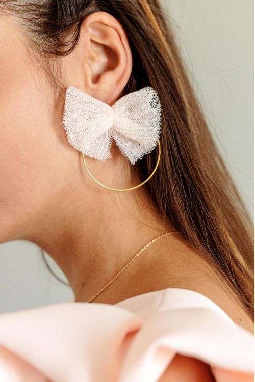 PALE PINK POLKA  DOT TULLE BOW EARRINGS